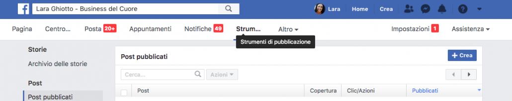 tasto crea per pubblicare un post da strumenti di pubblicazione su Facebook